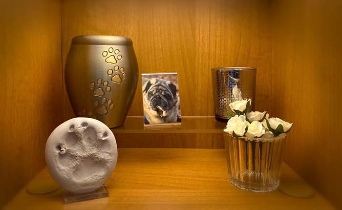Altaar voor overleden hond. Met urn, foto, kaarsje, pootafdruk en vaasje met bloemen