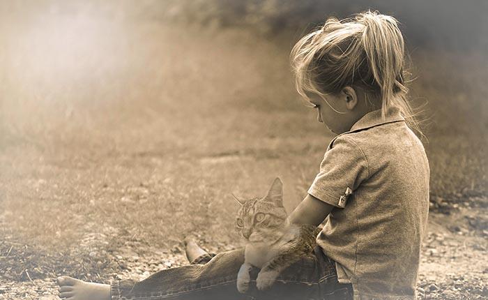 Kind, meisje, met kat op schoot. Verdrietig omdat haar poes dood is.